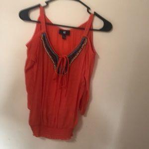 Orange cut out shoulder blouse